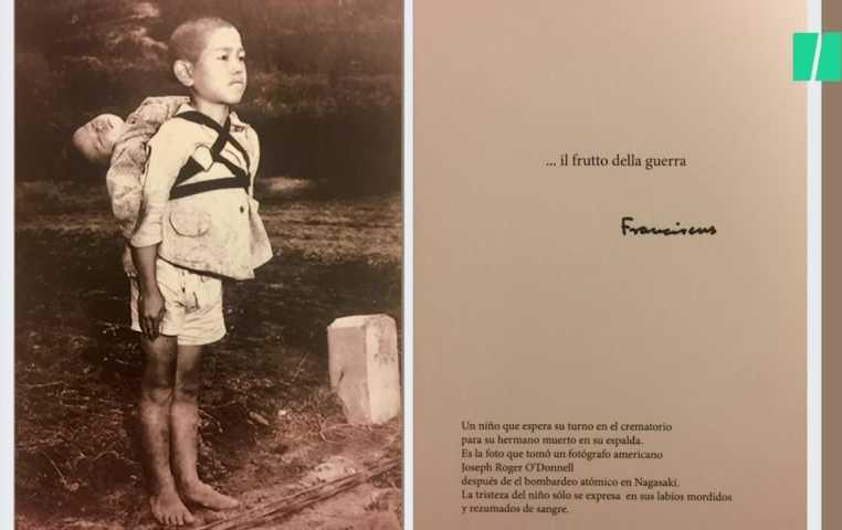 voeux du pape : photo nagasaki garcon portant son frère mort