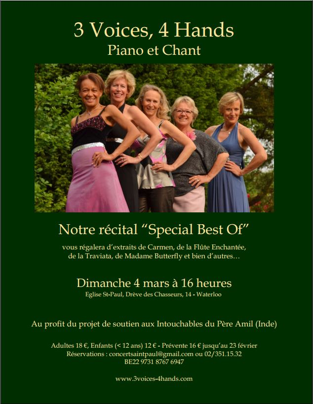 "Concert annuel ""Three Voices, Four Hands"""