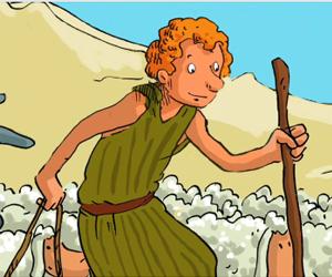 David, jeune bergés entourés de ses moutons