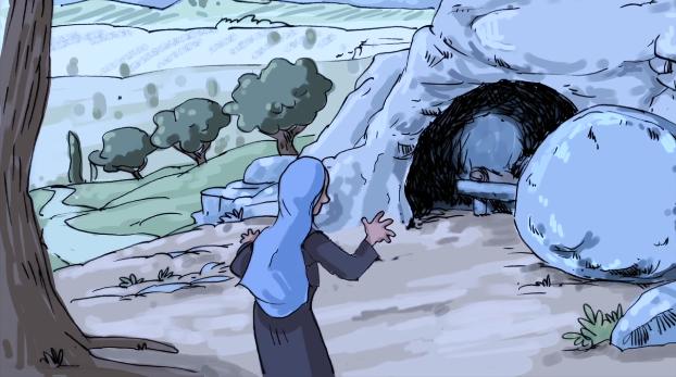 tombeau de Jésus ouvert