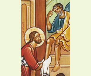 jésus lave les pieds d'un disciple
