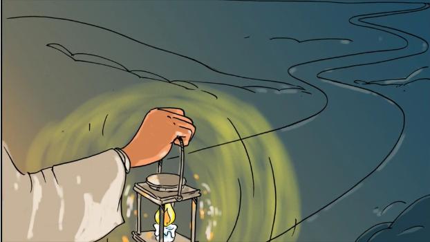 une lanterne allumée